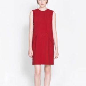 Zara Pocket Red Dress Medium